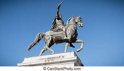 statue of Louis XIV in the Promenade du Peyrou in Montpellier, France