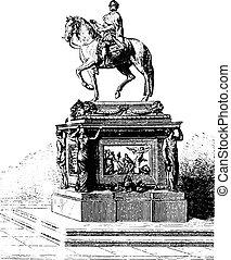 Statue of Louis XV, Bouchardon, erected on the Place de la Concorde, vintage engraving.