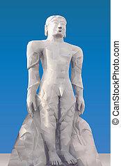 Statue of Mahavira illustration in triangular pattern style