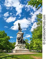 Statue of Major General Comte Jean de Rochambeau on Lafayette Square in Washington, D.C.