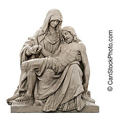 Isolated beautiful statue of Holy Mary holding the Corpus Christi on her lap