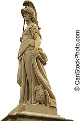 Statue of Minerva on the Old Bridge (Alte Br?cke) of Heidelberg, Germany. Carl Linck