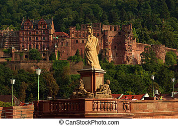 Statue of Minerva on the Old Bridge and castle in Heidelberg, Germany