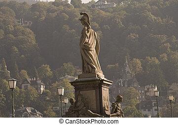 Statue of Minerva on the Old Bridge in Heidelberg, Germany