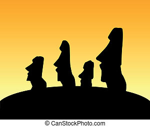 statue of Moai - vector silhouette of the statue of Moai on...
