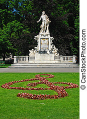 Statue of Mozart in the Burggarten garden, Vienna, Austria
