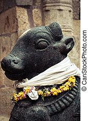 Statue of Nandi Bull at Hindu Temple - Statue of Nandi Bull...