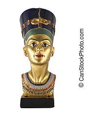 statue of Nefertiti isolated on white background
