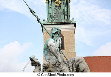 statue of Neptune the god of the Mari in the big square in...