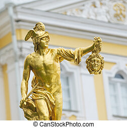 Statue of Perseus with the head of the gorgon Medusa, Petergof, Saint Petersburg, Russia