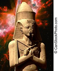Statue of Pinedjem and Butterfly Nebula (Elements of this...