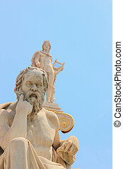 statue of Plato from the Academy of Athens, Greece with the statue of Athena on background