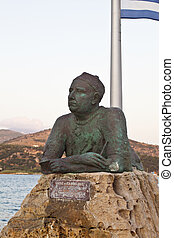 Statue of poet Nikos Kavadias in Greece