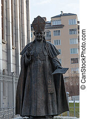 Statue of Pope John XXIII in front the Cathedral of St Joseph ,