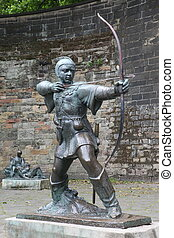 Statue Of Robin Hood at Nottingham Castle, Nottingham, UK