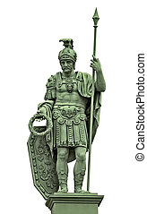 Statue of Roman god of war Mars (Ares) with armor of ancient...