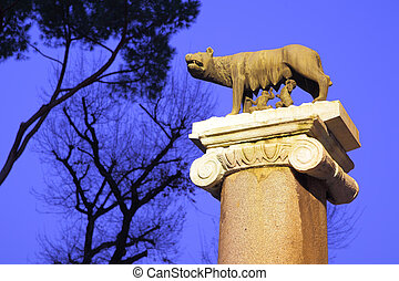 Romulus and Remus - Statue of Romulus and Remus in Rome. ...