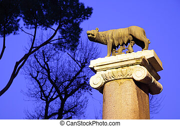Statue of Romulus and Remus, the wolf suck in Rome. Italy.