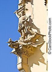 Saint George - statue of Saint George at the castle in...