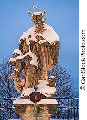 Statue of Saint John of Nepomuk or John Nepomucene in Sonntagberg, Mostviertel, Lower Austria by an anonymous artist from the mid 18th century.