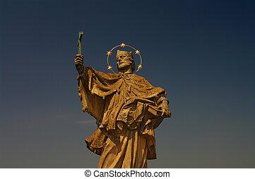 Statue of Saint Nepomuk at old main bridge in W?rzburg, Germany