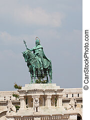 Statue of Saint Stephen in front of Fishermans bastion at Buda castle in Budapest Hungary