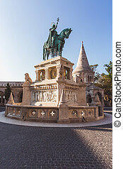 Statue of Saint Stephen on Fishermans Bastion in Budapest, Hungary