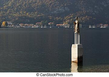 Statue of San Nicolo in Lake Como at Lecco Italy