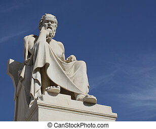 Neoclassical statue of ancient Greek philosopher, Socrates, outside Academy of Athens in Greece.