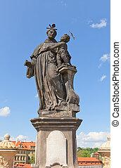 Statue of St. Anthony of Padua on Charles Bridge in Prague