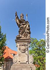 Statue of St. Augustine on Charles Bridge in Prague