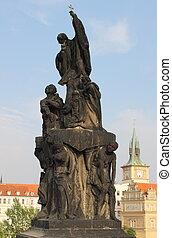 Statue of St. Francis Xaverius in Charles bridge, Prague