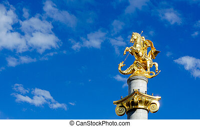 St. George - Statue of St. George on the main square of...