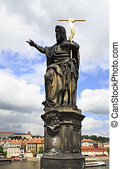 Statue of St. John the Baptist. Charles Bridge in Prague.