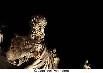 Statue of St. Peter at Night