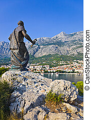 Statue of St. Peter in Makarska, Croatia