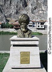 Statue of sultan Yildirim Bayezid near the river in Amasya,...