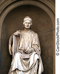 Statue of the famous architect Arnolfo di Cambio- Florence. Arnolfo di Cambio 1240 – 1300 was an Italian architect and sculptor.