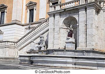 Statue of the Nile and the goddess Roma, Piazza del Campidoglio - Rome, Italy