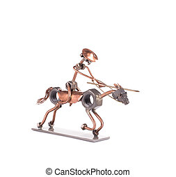Statue of the rider on a horse.