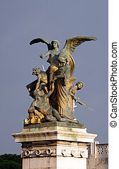 Statue of the Thought carved by Giulio Monteverde in the monument to Victor Emmanuel II. Venice Square, Rome, Italy