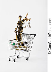 Statue of Themis in a mini shopping cart.