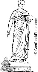 Statue of Urania, Muse of Astronomy, vintage engraving -...