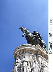 Statue of Victor Emmanuel II at Piazza Venezia in Rome