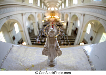Statue of Virgin Mary in church