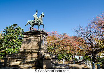 Statue of warrior on horse in Ueno district, Tokyo, Japan