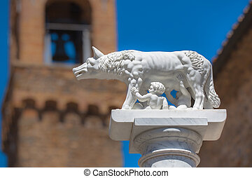 Statue of Wolf With Romulus and Remus in Rome, Italy -...