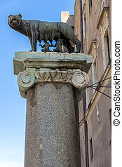 Statue of Wolf with Romulus and Remus on Capitoline hill in...