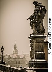 Statue on a Charles bridge in Prague