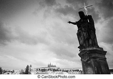 Statue on Charles Bridge. Prague